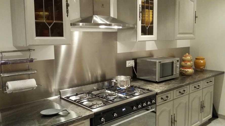 PlakSteel - Küchenrückwand aus gebürstetem Edelstahl 90x60 cm (900 x ...